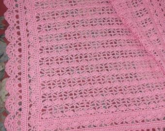 Crocheted Pink Baby Afghan (bk122)