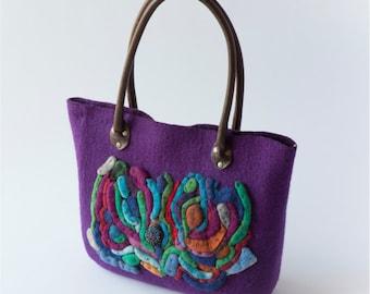 Handmade handbag - purple - OOAK