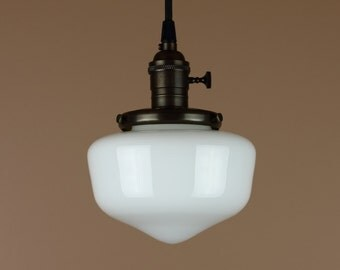 Pendant Lighting w/ Mini School House Globe - Hand Finished in Oil Rubbed Bronze - Antique Style Cloth Wire & Milk Glass Globe