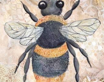 Bumble Bee Original 9x12  Watercolor Painting