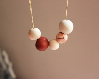 Nude colors necklace -  Polymer clay necklace- summer fashion trends- cooper color- marbled bead