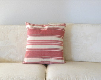 Red White Pillow Cover Down Pillow Insert included Red and Ecru Cream Denim Pillow Natural Beach House Pillow Cover Striped Minimalist