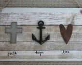 Christian Home Decor - FAITH HOPE LOVE Sign - Cross, Anchor, Heart - Rustic