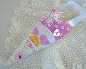 Little Bird Love Heart / Bird Pillow Heart / Babys First Valentine / Baby Nursery Decor / Mama And Baby Bird / Pink Birds /Fabric Heart