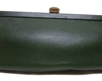 ROGER VAN S 60s Forest Green Pebbled Leather Clutch