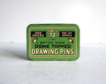vintage green drawing pins tin