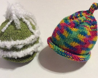 Hand knit adorable newborn baby beanies