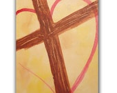 Original Abstract Fine Art 8x10, Cross on Yellow, Contemporary Christian Painting