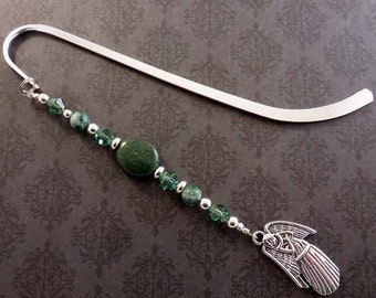 Green Beaded Bookmark with Swarovski Crystal, Angel Charm, Christian Bookmarker