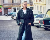 vintage 80s black over-sized trench coat