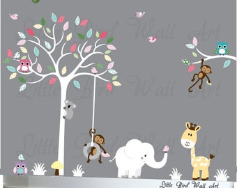 White tree wall decal nursery wall tree decals owls animals