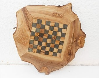 Unique Olive Wood Natural Edges Chess Board, Dad gift, Christmas Gift Idea