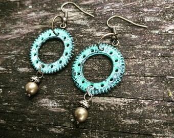 Steampunk Oxidized Green Earrings