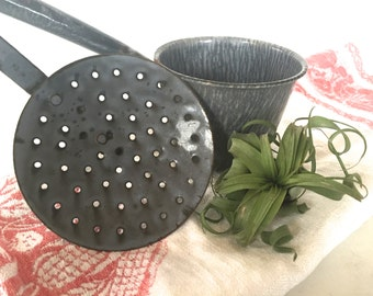 Antique Enameled ladle strainer