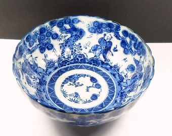 Chinese Rice Bowl Blue White Porcelain Hand Painted Oriental Soup Bowl Antique 1800s Asian