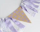 Girl High Chair Banner - Purple Theme Party - cake smash photo prop - purple polka dot banner - purple birthday decor - 1st birthday decor