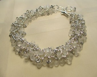 Cha Cha Bracelet in White With Silver