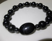 Men's Onyx, Black Wood and Magnet-Beaded Stretch Bracelet-Masculine  (134)