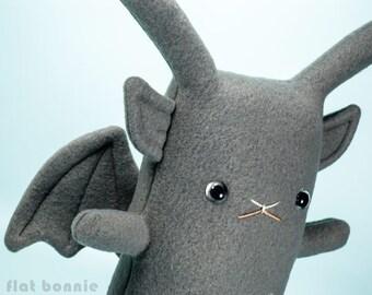 Gargoyle bunny stuffed animal, Cute rabbit gargoyle plush soft toy doll, kawaii gothic monster, handmade boy girl birthday gift, Flat Bonnie
