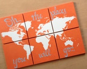 world map canvas . oh the places you will go . 6 - 12x12's . custom colors . hand painted . original . dark charcoal gray grey, orange, blue