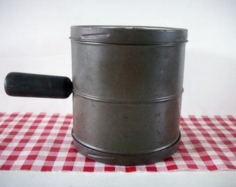 Vintage Tin Flour Sifter with Black Handle