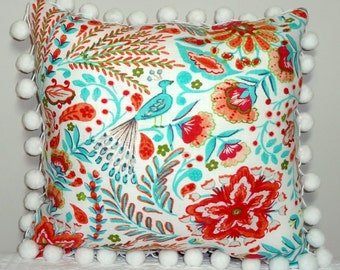 NEW Colorful Waverly Peacock Coral Orange Red Turquoise Blue Peacock Print Pillow Cover Pom Pom Throw Pillow Covers