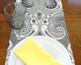 Kravet Latika Shadow Paisley Table Runner Table Top Charcoal Grey Black Linen Table Choose Size