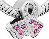 Pink Ribbon Breast Cancer Awarenees Silver Plated Spacer Metal Beads Fit  European Charm Bracelet