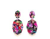 Fireworks Gemstar Double Drops - Lush Glitter - Geometric Drop Earrings Laser Cut - Multi Coloured