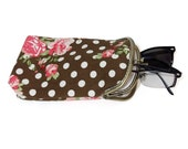 Glasses case Double pockets - Sunglasses / Reading case - Brown polka dot with pink flower Cotton Canvas fabric - Antique Bronze Frame