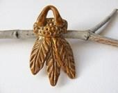 Autumn Feather Pendant Stoneware Clay