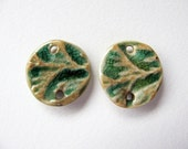 Green Tree Branch Connector Charms Stoneware Clay