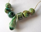 Green Droplet Pendant & Beads Set Stoneware Clay