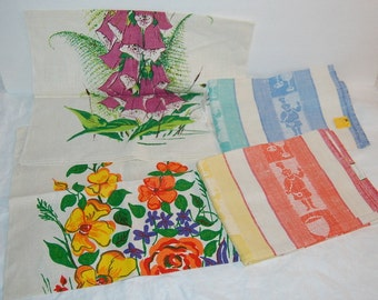 4 Linen Dish Tea Kitchen Towels New Old Stock Vintage Retro Home Deadstock with Tags