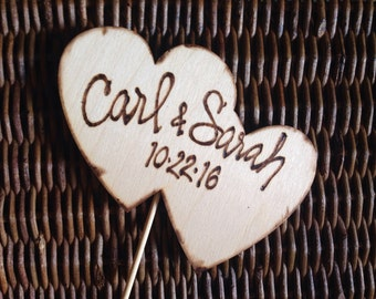 Wedding Engagement Cake Toppers Double Heart Personalized with Names and Date • Anniversary • Bridal Shower • calligraphy • hand lettering •