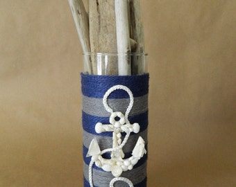 Nautical Striped Jute Wrapped Cylinder with Seashell Anchor Vase or Candle Holder