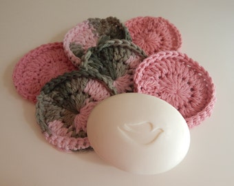 Spa Face Scrubbies - Crochet in Pink and Green - Set of 6