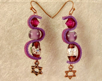 Leather, Glass, and Metal Earrings - LE10