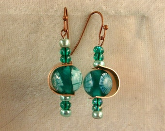 Glass, and Metal Earrings - LE58