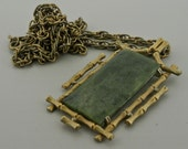 Chinese Fu Lu Shou Jade Pendant with Chain.