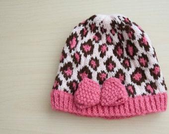 Cheetach print baby hat