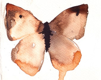 black and white gold butterfly original watercolour painting