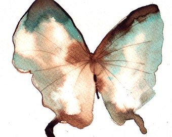 pale turquoise, white gold and brown butterfly. ORIGINAL ART watercolour painting