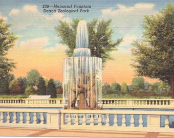 Detroit, Michigan, Zoological Park, Fountain, Zoo, Detroit Zoo - Linen Postcard - Unused (L)