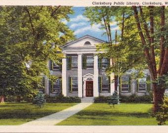Clarksburg, West Virginia, Clarksburg Public Library - Linen Postcard - Unused (L1)