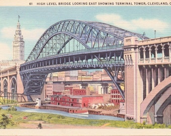 Cleveland, Ohio, Terminal Tower, High Level Bridge - Linen Postcard - Unused (BBB)