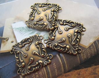 Art Nouveau Style Brass Ox Stamping Connectors 4 Loops 4Pcs.