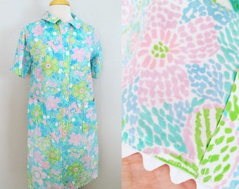 SALE // Floral Butterfly Cover Up // 60s Midi Daydress // Pastel HouseCoat //