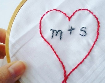 Custom Embroidered Handkerchief // Hankie Hanky // Anniversary Wedding Hearts Love //  Gifts Under 20