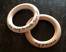 Lord of the Rings Wooden Teether LOTR Teething Ring Shower Gift Under 20 My Precious Baby's First Christmas Stocking Stuffer Hobbit Nursery